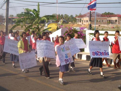 School kids parade in Thailand