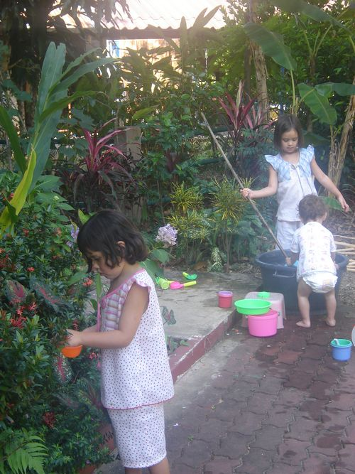 Girls playing in garden